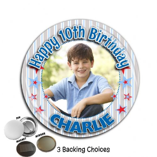 Large 75mm Personalised Boys Happy Birthday PHOTO Badge N54
